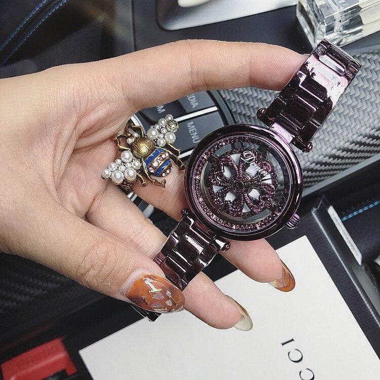 fb0c114c590 2018 senhoras Mulheres relógio relógios Vestido Brilhante Rotação Relógio  Grande Pedra de Diamante mulher relógio de