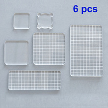 купить 6pcs DIY Acrylic Clear Stamp Block set Handle Stamping Photo Album Decor Essential Stamping Tools for Scrapbooking Crafts Making дешево