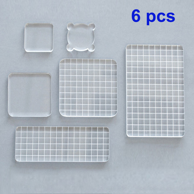 6pcs DIY Acrylic Clear Stamp Block set Handle Stamping Photo Album Decor Essential Stamping Tools for Scrapbooking Crafts Making