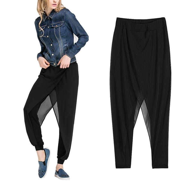 Hoffen 2017 Módní dámské šifónové kalhoty Harem Pants Black Casual Loose Bloomers Kalhoty Dámské kalhoty Pantalones Mujer 6XL