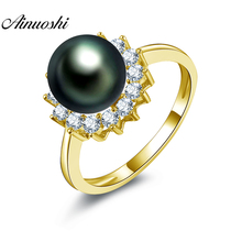 AINUOSHI 14K Solid Yellow Gold Ring 8mm Natural Tahiti Black Pearl Ring Women Wedding Engagement Pearl Ring Luxury Gift for Girl ainuoshi 10k solid yellow gold women engagement ring sona diamond jewelry top quality butterfly shape joyeria fina femme rings