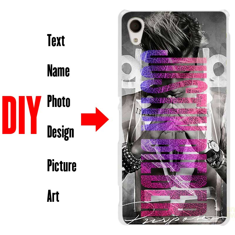 DIY Photo Name Text Back Customized Hard Phone Case Cover Shell Coque for Sony Xperia Z2 Z3 Z4 Z5 M4 Aqua XA XZ XA1 X E4 E5