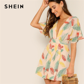 SHEIN Plunge Neck Tied Open Back Tropical Dress Deep V Neck Fit and Flare Women Dresses 2019 Short Sleeve Summer Dress