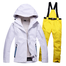 High quality women ski suit set women's skiing clothing winter outdoor sports ski jacket+ski pants waterproof windproof warm