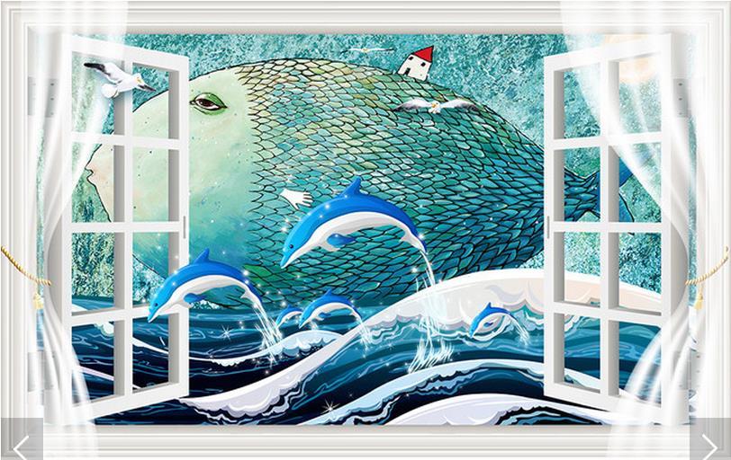 Customized 3d photo wallpaper 3d wall murals wallpaper 3D window big fish cartoon mural background wall 3d living room wallpaper