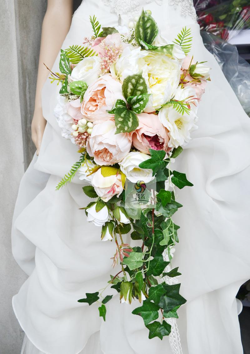 Waterfall Style Wedding Bridal Bouquet Handmade Bridesmaid Flower