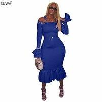 SUWA Fashion Women Tight Dress Strap Flare Sleeve Beauty Elegant Dress Solid Evening Ankle Length Dresses