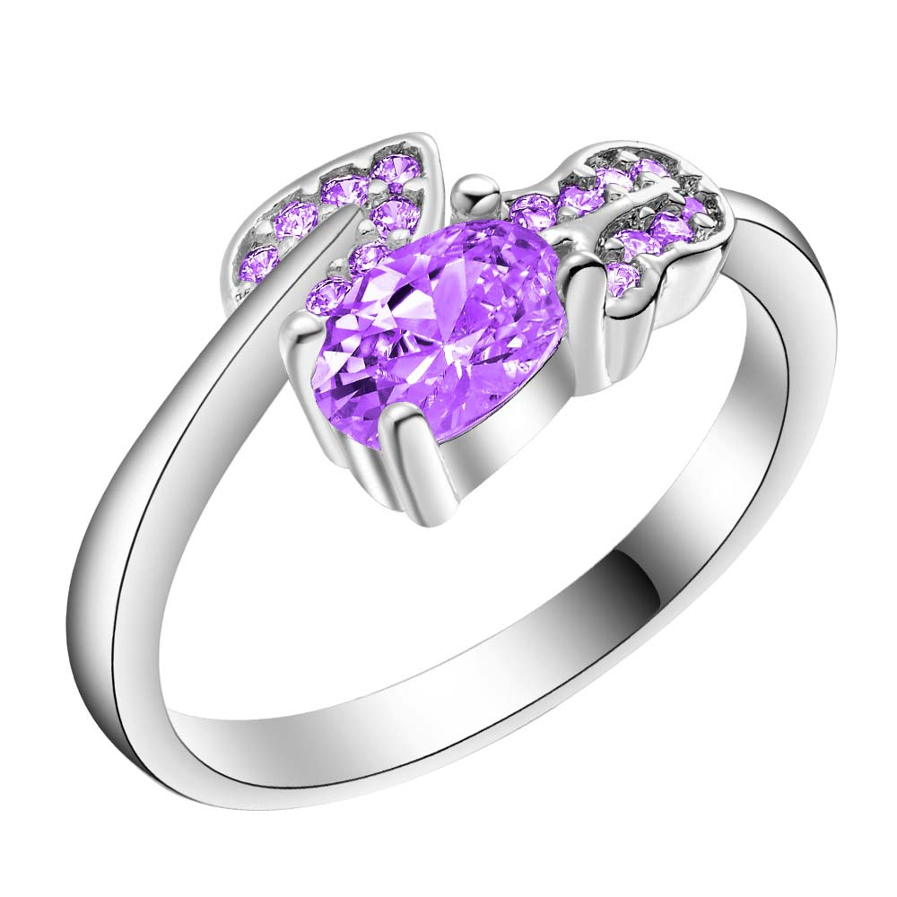 fashion bling purple zircon Wholesale 925 jewelry silver