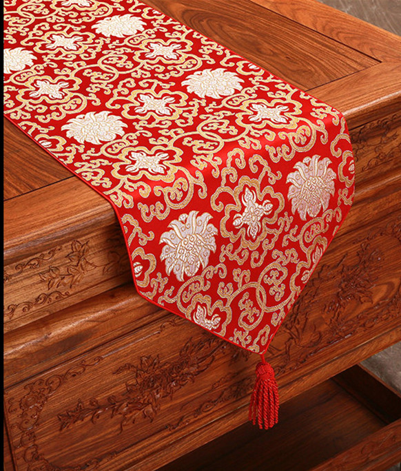 Us 17 0 Short Long Chinese Silk Coffee Table Runner Christmas Damask Tea Cloth Fashion Simple Mats For Dining In Runners