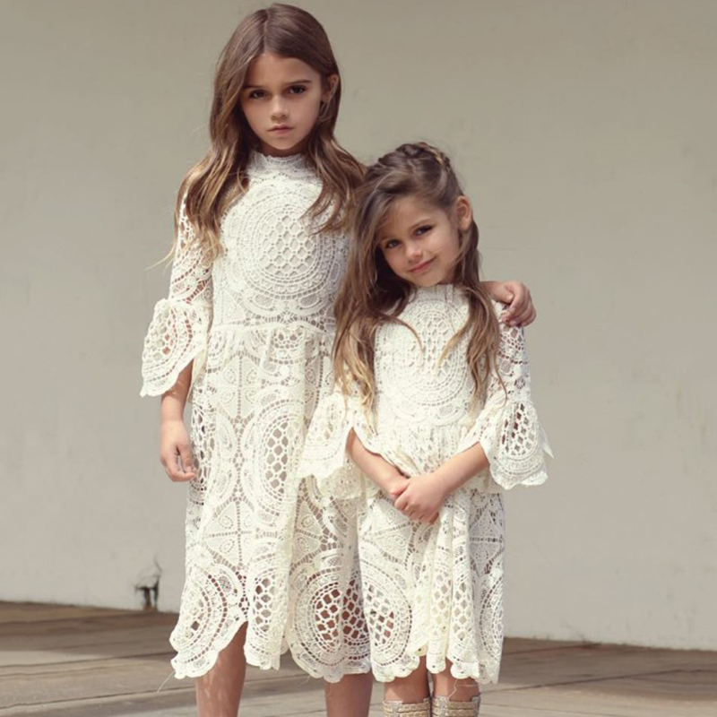 2017 Autumn Princess Dress Lace Long Sleeve Girls Dresses For Party And Wedding Girls Costumes Baby Gril Clothing Children Cloth high quality girls baby bright leaf long sleeve lace dress princess bud silk dresses children s clothing wholesale