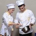 Cocina Capa Uniforme Del Cocinero Chefs Ropa de Trabajo Uniforme de manga Larga Femenina Desgaste Hombres y Mujeres Cocinan Monos Blancos
