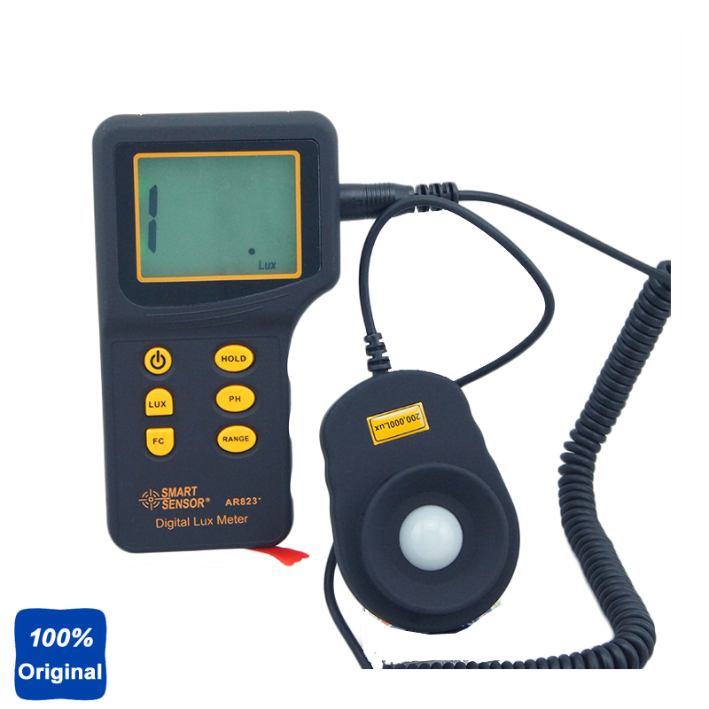 100% Original AR823 Digital Lux Meter Light Tester (1-200.000lux) brand new professional digital lux meter digital light meter lx1010b 100000 lux original retail package free shipping