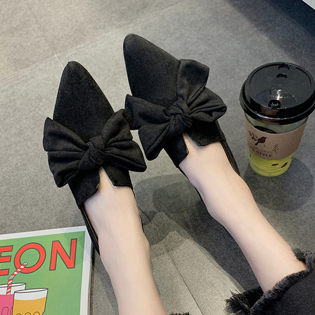 Women Flats Shoes Ladies Loafers Slip-On Pointed-Toe Black Shallow Boat