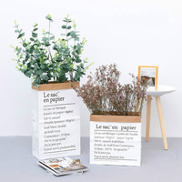 Eucalyptus Leaf Simulation Rose Paper Bag Set Home Living Room Fake Plant Potted Decorative Ornaments