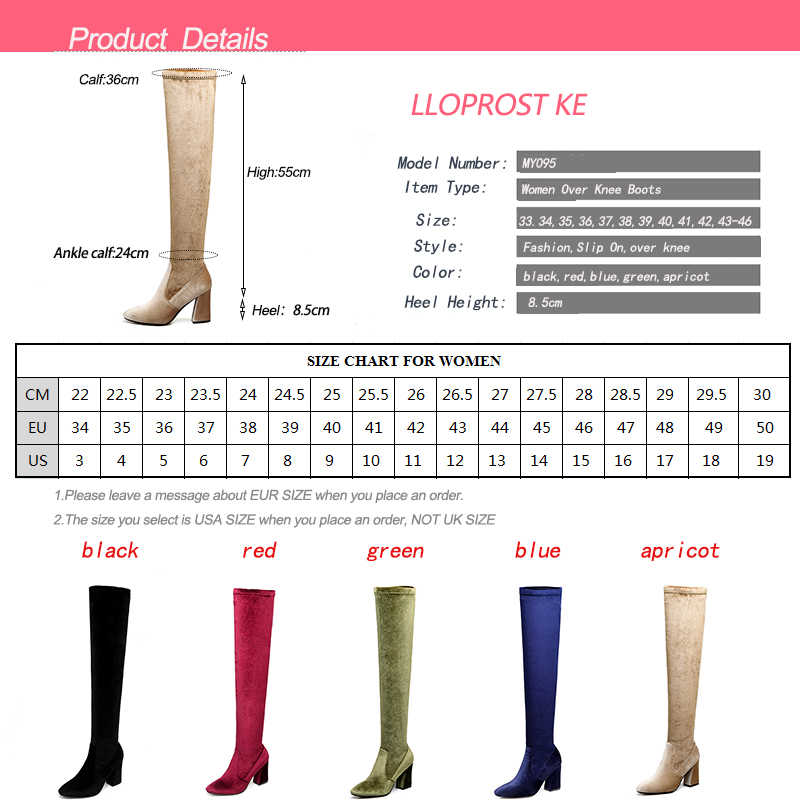 LLOPROST KE Sonbahar Kış Platformu Yüksek Topuklu Mavi Kırmızı Kadife Çizmeler Kadın Diz Yüksek Streç Çizmeler Uzun ayakkabı MY095