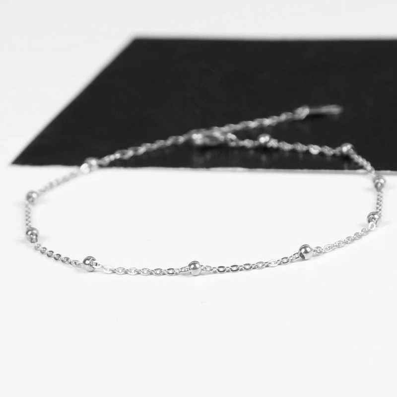Classic Silver Gold Rose Gold Color Anklet Women Link Chains Beads Ankle Bracelet Cheville Foot Jewelry High Quality Never Fade