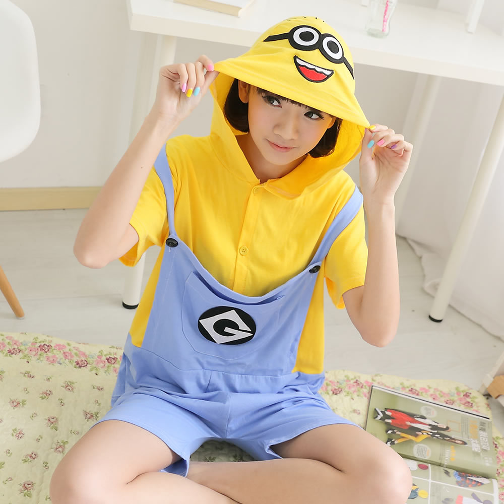 673e2c6682 Cute Adults Short Sleeve Pajamas For Women Men Cosplay Costumes Summer  Cotton Minions Onesie Funny Animal Jumpsuit S M L XL on Aliexpress.com