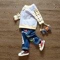 Ребенка детский спортивный костюм детские толстовки Дети Корейский Осень футболку + брюки 2 шт. наборы 1-3 лет