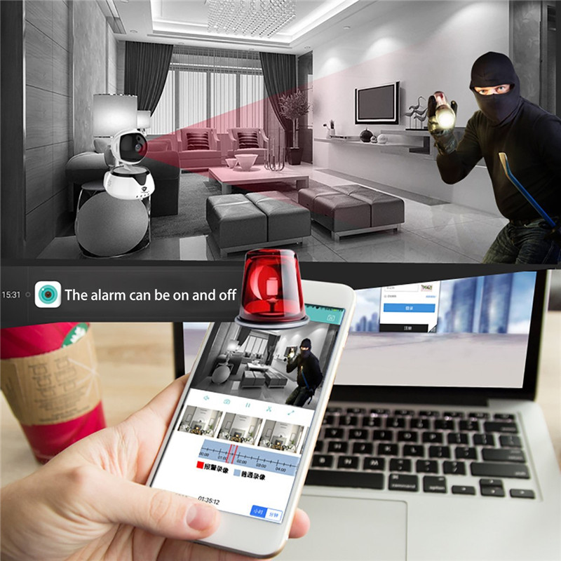 WIFI IP Security Camera 720P robot HD video Home Security Surveillance 360 Night Vision Two-way Audio Motion Detection Camera