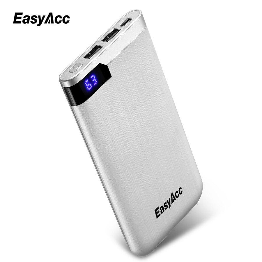 5 v/2.1A 10000 mah Power Bank Easyacc Ultra-dünnen Polymer LCD display Dual Ausgang Typ-C ports Externe batterie Power