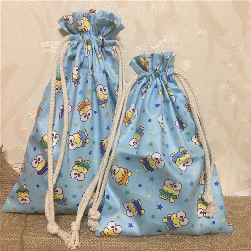 YILE 1pc Cotton Twill Drawstring Bag Multi-purpose Organizer Yellow Frog Blue Base Party Favor 8117b