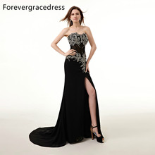 Forevergracedress Real Picture Abendkleid New Style Mermaid Sweetheart Perlen Kristalle Split lange formale Party Kleid Plus Größe