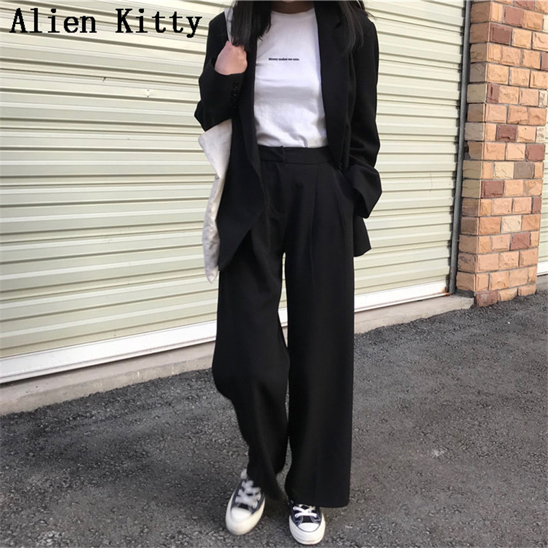 Alien Kitty Female   Wide     Leg     Pants   Elastic Waist Solid High Waist Fresh All Match Flat Vintage Slim Casual Plus Size Trousers