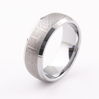 Men's Tungsten Кольцо Серебряный Тон Ирландский Кельтский Узел Крест Triquetra Brushed tungsten carbide ring