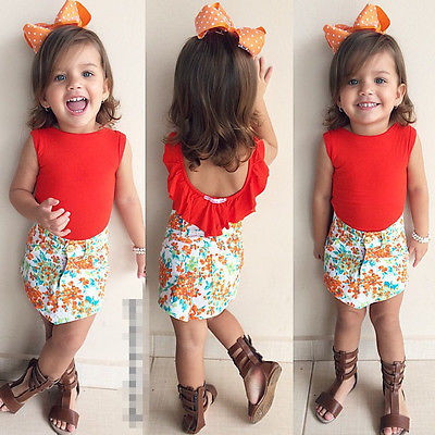 Toddler Kids Baby Girls Summer Outfits Clothes Solid Sleeveless T-shirt Tops+Floral Skirt 2PCS Outfits Set 1-7Y fashion 2pcs baby girl lace floral tops check pants outfits brief new clothes toddler girls kids clothes summer cute set infant