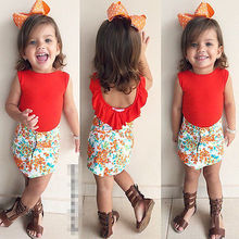 Toddler Kids Baby Girls Summer Outfits Clothes Solid Sleevel
