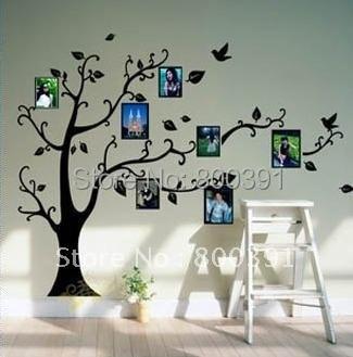 Free shipping Removable wall sticker,mini order 1pcs, Black Photo Tree decorative Living room Art Wall Sticker 50x70cm