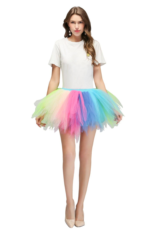 MisShow In Stock Colorful Beach Mini Skirt 2019 Sexy Ladies Tulle Skirt Women's Short Rainbow Tutu Skirt Women