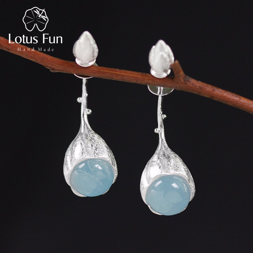 Lotus Fun Real 925 Sterling Silver Natural Stone Handmade Designer Fine Jewelry Elegant Lotus Buds Dangle Earrings for Women