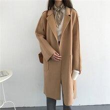 2017 women's winter long sleeve turn down collar pocket bow waist belt long woolen coats female cardigan side split coat