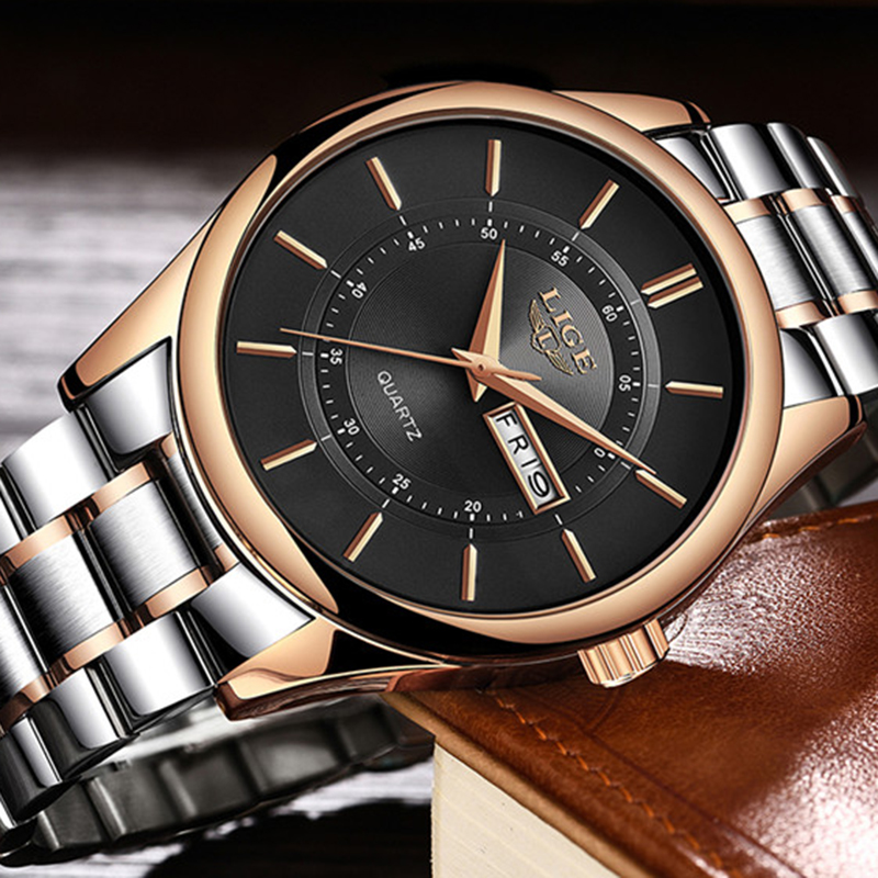 LIGE New Top Luxury Brand Watches Men's Fashion Casual Quartz Dress Wat