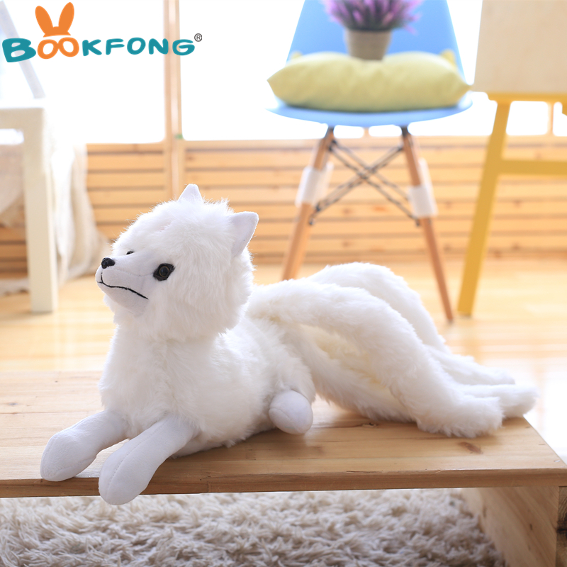 BOOKFONG 60CM Simulation white Nine-Tailed Fox Plush Toy Stuffed Fox Animal High Quality Gumiho Birthday Gift Toy Home Decor image