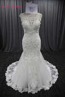 2018 New Lace Mermaid Wedding Dress Scoop Neckline Pearls Sequin Beaded 50cm Length Trailing Bridal Marry Tulle Wedding Gown