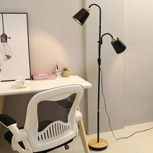 Nordic wooden floor lamp simple E27 LED wrought iron personality vertical adjustable lamps for living room bedroom study