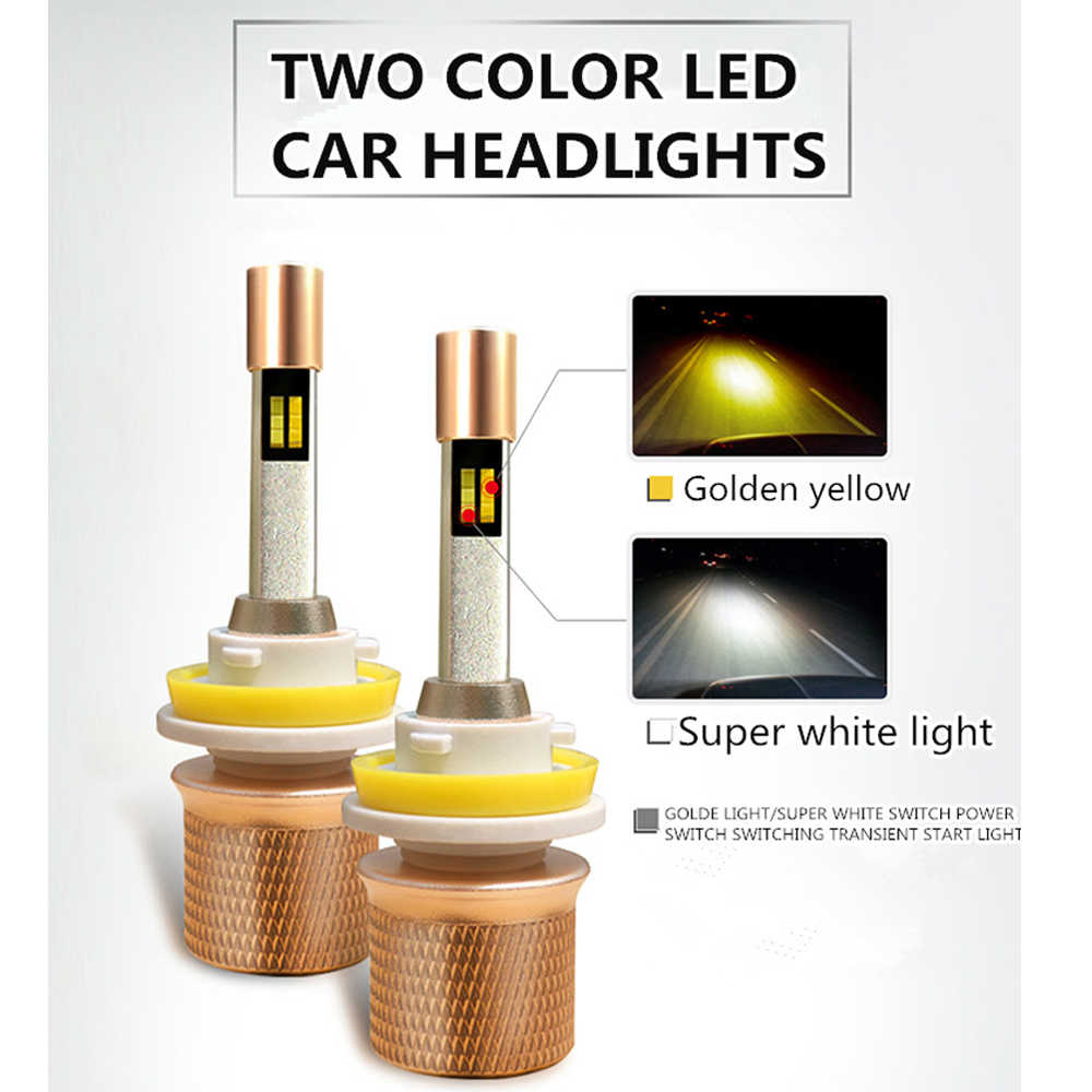 2PCS 110W 11000LM Auto LED HB3 9005 Headlamp 3000K Golden yellow 6000K White H1 H3 H4 H7 H8 H9 H11 D2S Car dual color headlights