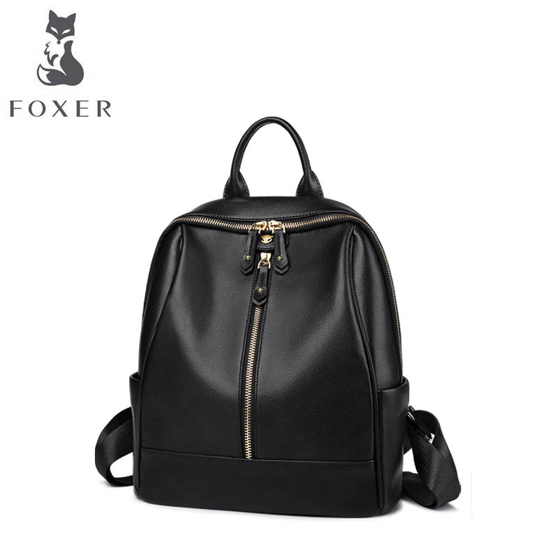 FOXER hot 2018 new brand women leather bag fashion Simple leisure Genuine leather backpack women Genuine leather backpack цена