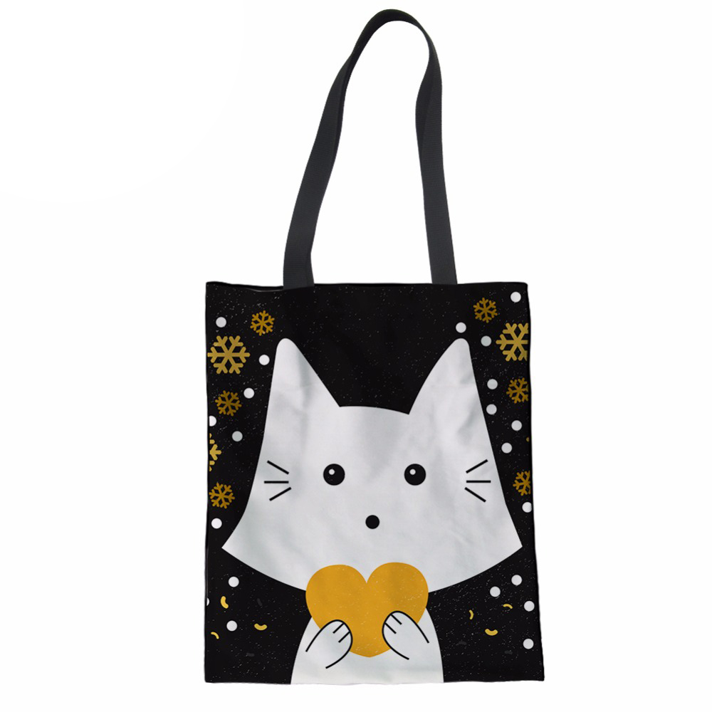 NoisydesignsCasual Coth Bag Female Top-handle Bags Cat Animal Printing Women Handbags Ladies Girls Shopper Laptop Tote Beach Bag