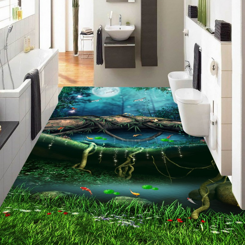 .Free shipping Fantastic forest path bathroom kitchen 3D flooring home decoration self-adhesive mural baby room wallpaper free shipping 3d living room dining room kitchen bathroom foyer waterproof self adhesive fish flooring wallpaper mural fh 023
