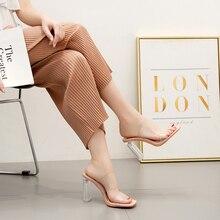 Liren 2019 Summer New Fashion Lady PVC Transparent Sandals High Square Heels Open Toe Luxury Shoes Women Designers Size 35-42