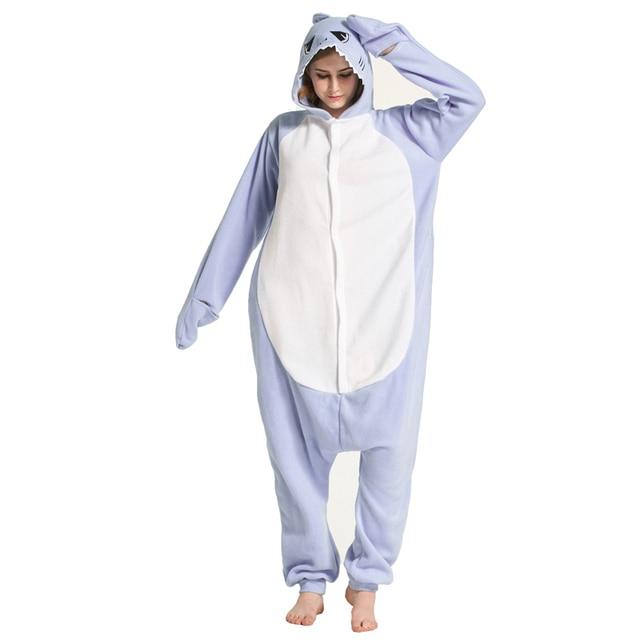 03ecdcfb01 Adult Light Blue Shark Onesies Pajamas Cosplay Onesie Pyjamas Costume  Animal Sleepsuit Jumpsuits Sleepwear For Carnival Party