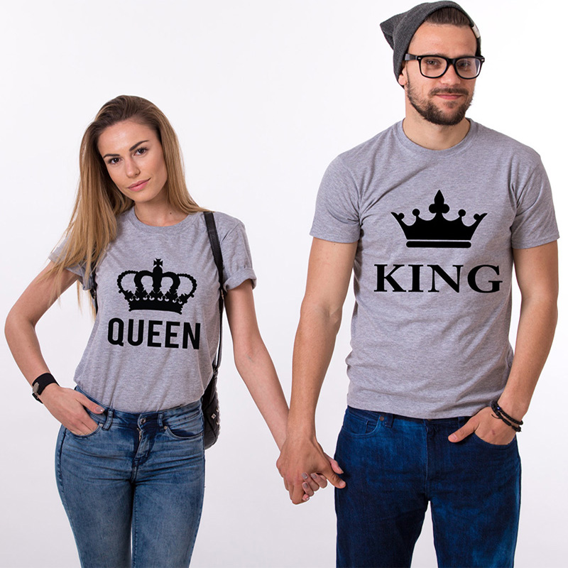 Fashion Brand Couple T-shirt Printing Queen and King Funny Crown Summer Clothes Streetwear Women Tshirt Plus Size