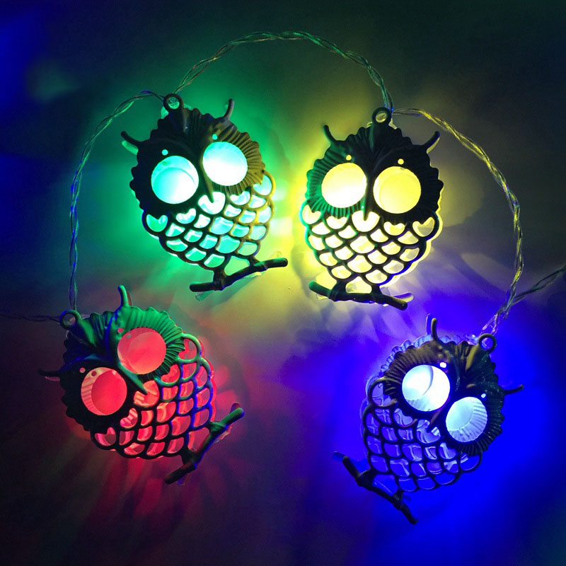 1.5M 10 LEDs /3M 20LED Unique Metal Owl Drip Design String Lights Wedding Party Christmas Garland Decor For Halloween