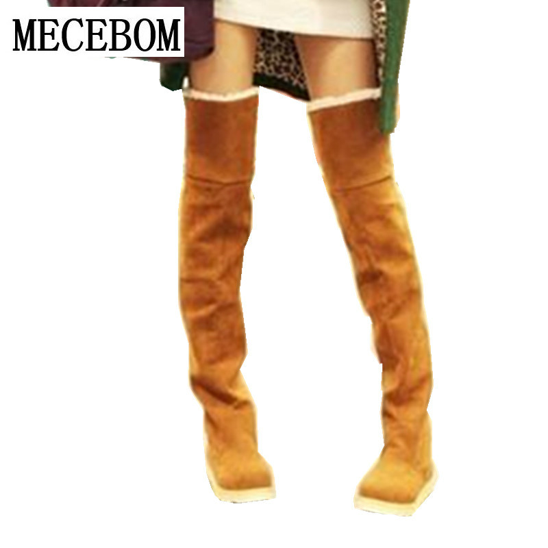 2018 Fashion Shoes Warm Over Knee High Boots Woman Autumn Winter Boots Stretch Strap Women Boots Round Toe Down Fur Ladies 189W