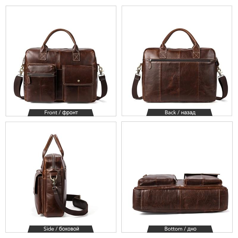 WESTAL Men's Briefcases Genuine Leather Office Bag for Men Messenger Bags Laptop Bag Leather Computer/Lawyer Briefcase Male 7212