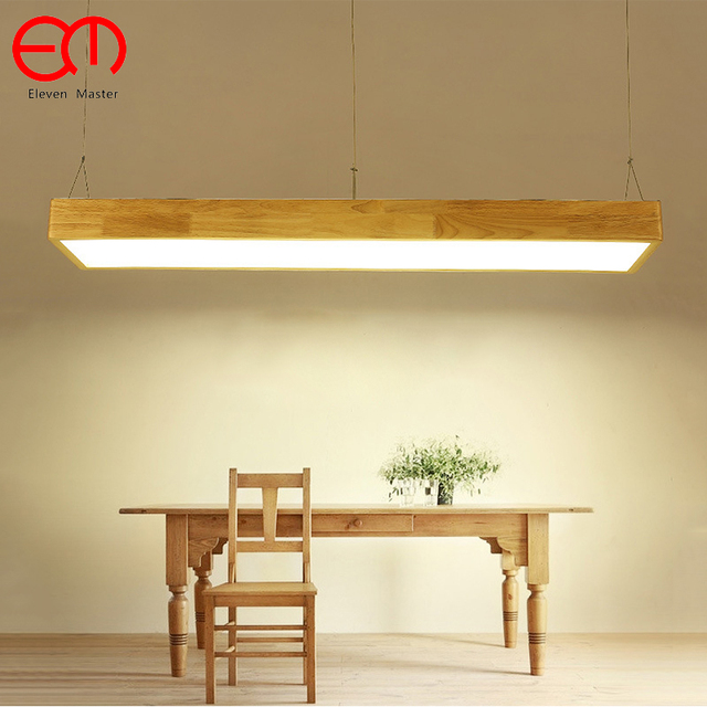 Modern Wood Light LED Living Dining Room Pendant Lights Suspension  Luminaire Ring Lighting Wooden Rectangle Lamp