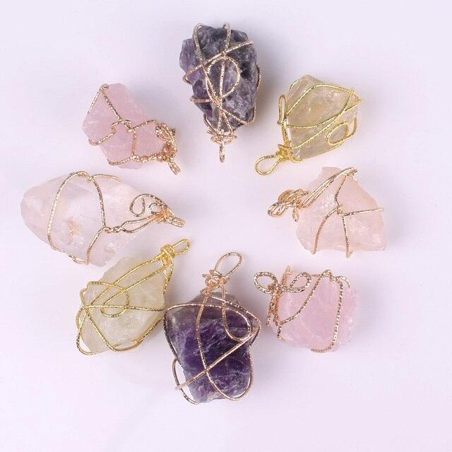Handmade Twining Irregular Natural Stone Pendant 6